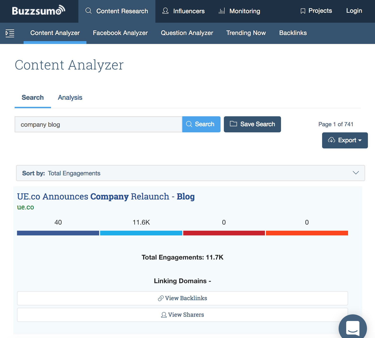Buzzsumo helps analyze the content of every company blog you're in competition with