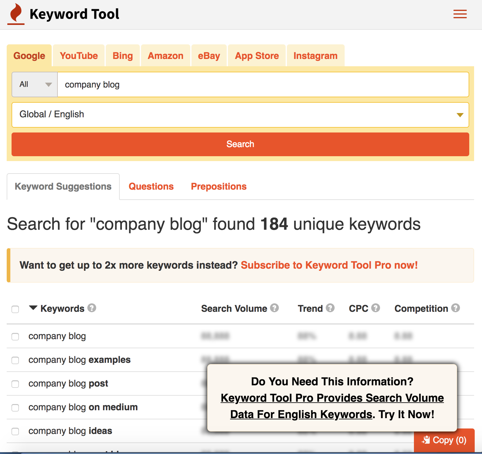 Search results for company blog using the keyword tool