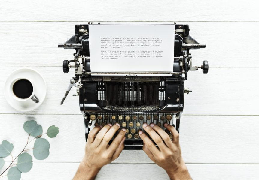 content writing is done with a laptop, but this is a typewriter