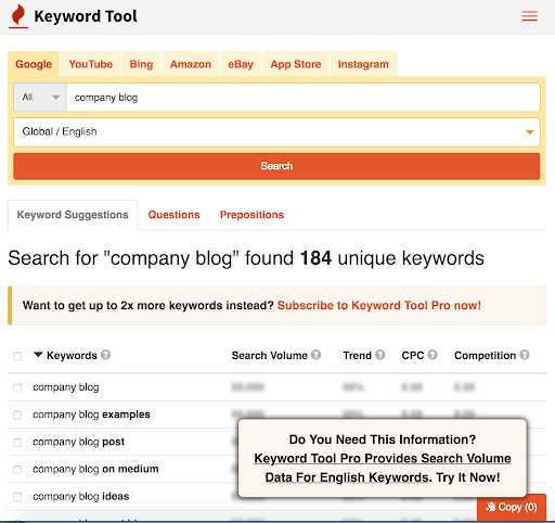 kw tool for company blog