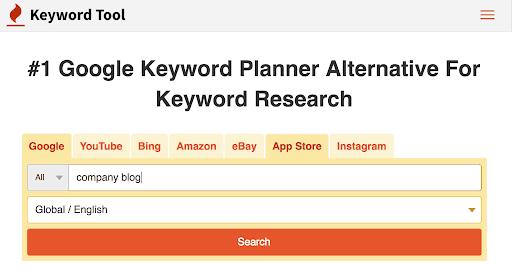keyword tool for company blog success
