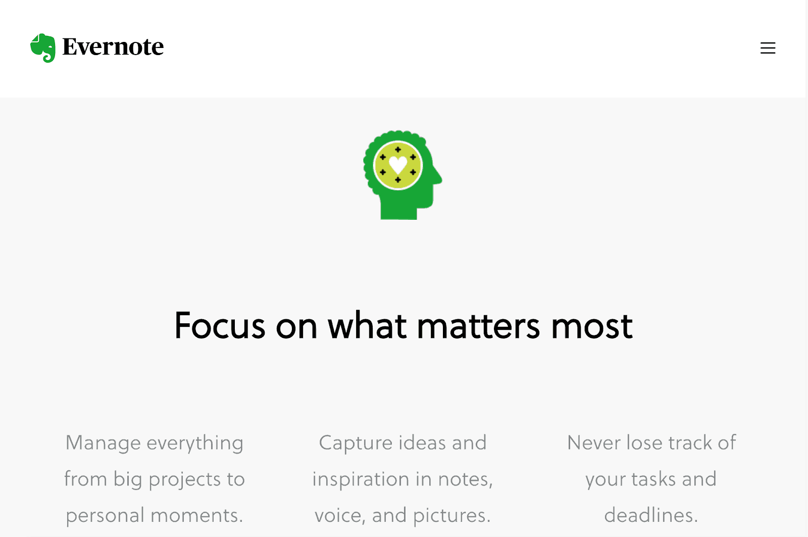 Focus on what matter the most with Evernote free app